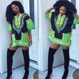 Black and Lime Colorful African Dashiki Shirt