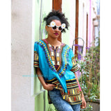 Light Blue African Dashiki Shirt Summer