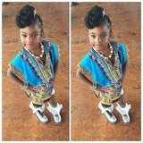 Light Blue Toddler Kids African Dashiki Shirt