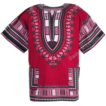 Maroon Red African Dashiki Shirt