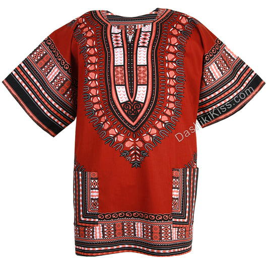 Brick Red African Dashiki Shirt