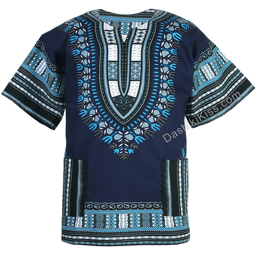 Navy Blue African Dashiki Shirt
