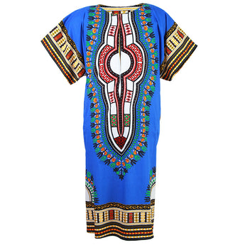 Blue African Dashiki Long Dress