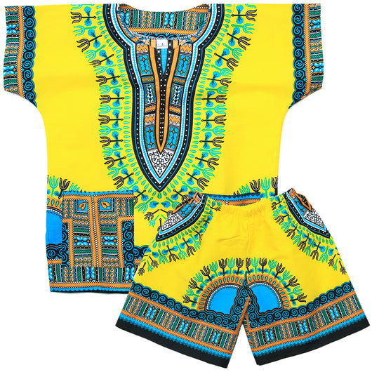 Light Yellow Toddler Kids African Dashiki Set1