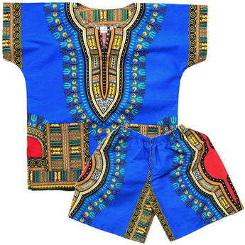 Blue Toddler Kids African Dashiki Set2