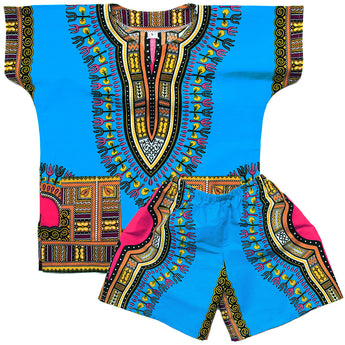 Light Blue Toddler Kids African Dashiki Set2