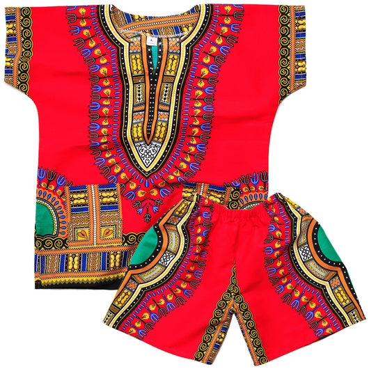 Red Toddler Kids African Dashiki Set2