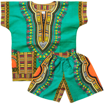 Green Toddler Kids African Dashiki Set2