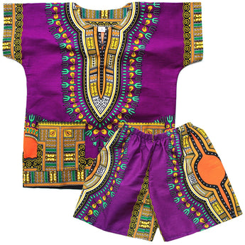 Purple Toddler Kids African Dashiki Set2