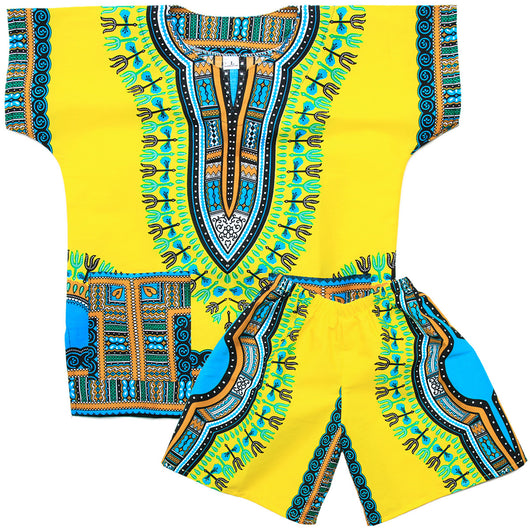 Light Yellow Toddler Kids African Dashiki Set2