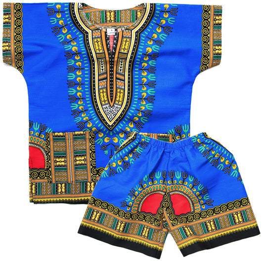 Blue Toddler Kids African Dashiki Set1