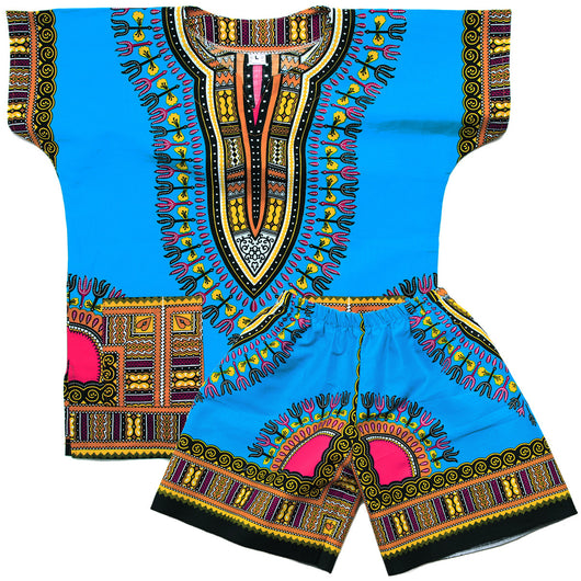 Light Blue Toddler Kids African Dashiki Set1
