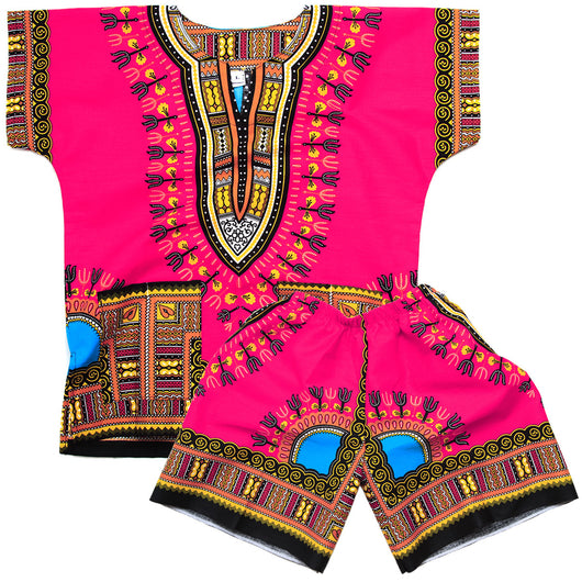 Pink Toddler Kids African Dashiki Set1