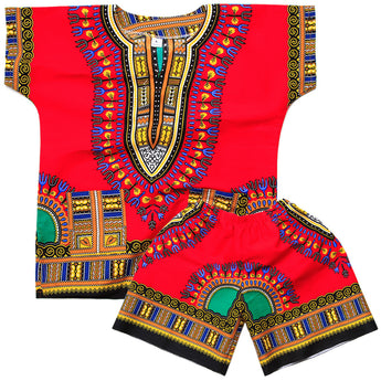 Red Toddler Kids African Dashiki Set1