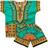 Green Toddler Kids African Dashiki Set1