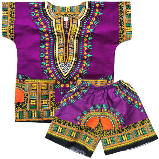 Purple Toddler Kids African Dashiki Set1