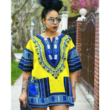 Yellow African Dashiki Shirt for Womens