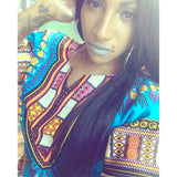 Light Blue Women African Dashiki Shirt