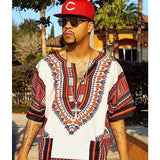 White and Red African Dashiki T Shirt Shop Wear