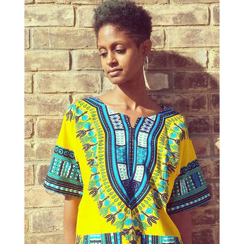 Light Yellow African Dashiki Shirt Shop Sale