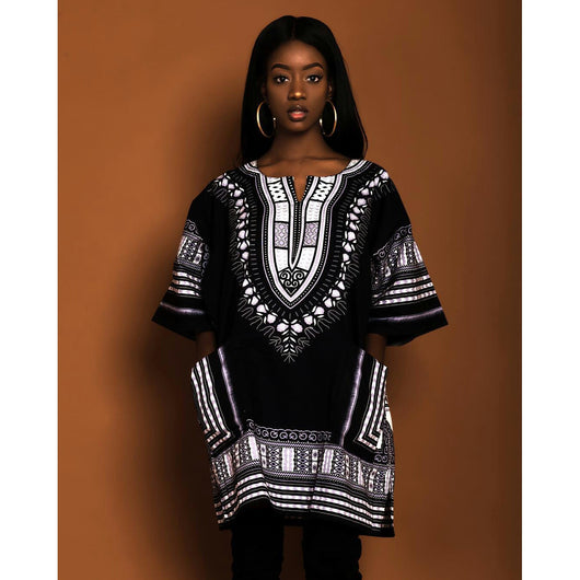Women Black African Dashiki Shirt