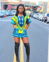 Light Yellow Womens African Dashiki Shirt