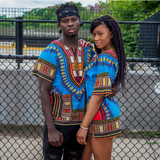 Light Blue African Dashiki Shirt Unisex
