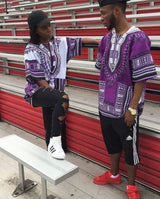 White and Purple African Dashiki T Shirt Tops Blouse