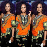 Orange Women African Dashiki Shirt
