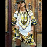 White and Yellow African Dashiki Shirt Cheap Price