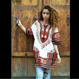 White and Orange African Dashiki Shirt for Ladies