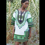 White and Green Ghana Ladies African Dashiki Shirt