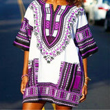 White and Purple Ghana African Dashiki Shirt Style