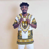 White and Yellow African Dashiki Shirt Wear Clothes