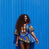 Blue African Women Dashiki Shirt Tops