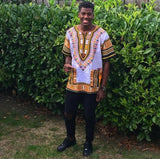 White and Yellow African Dashiki Shirt for Mens