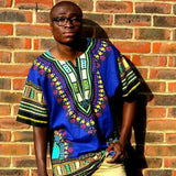Blue Mens African Dashiki Shirt