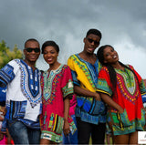 White and Blue African Dashiki Shirt Fashion Style
