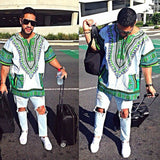 White and Green African Dashiki Shirt Fashion Style
