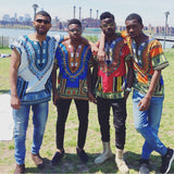 White and Blue African Dashiki Shirt Party Team