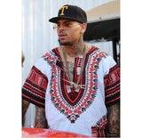White and Red African Dashiki Shirt for Mens