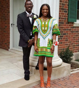 White and Green Colorful African Dashiki Shirt
