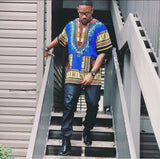 Blue African Dashiki Shirt Clothes