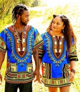 Blue African Unisex Dashiki Shirt Tops