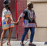 Black and Orange Colorful African Dashiki Shirt
