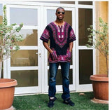 Pink and Black African Men's Dashiki Shirt