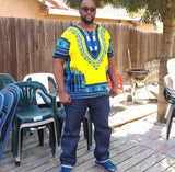 Light Yellow Mens African Dashiki Shirt
