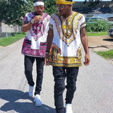 White and Yellow African Dashiki Shirt Style Fashion