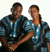 Black and Light Blue African Dashiki Shirt
