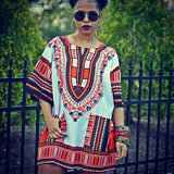 White and Orange African Dashiki Shirt for Womens